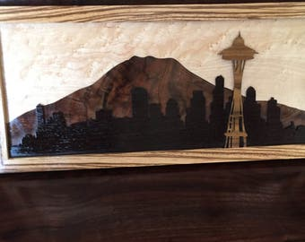 Custom Wood Seattle Skyline