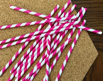 Hot Pink Striped Paper Straws set of 15 pcs