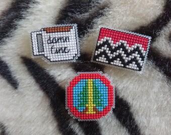 Cross Stitch Twin Peaks Badges