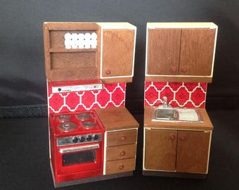 Vintage dolls house kitchen oven and sink for lundby