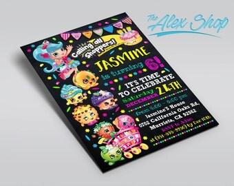Shopkins Birthday, Shopkins Birthday invitation, Shopkins birthday, Shopkins inivtation, Shopkins party, birthday invitation
