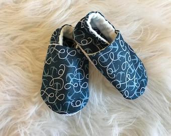Nautical baby booties