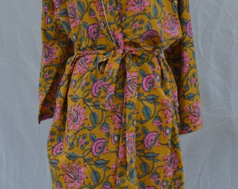 Cotton Robe - Kimono Indian block print