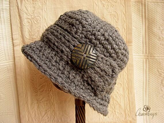 Sandy's Cloche, Grey Cloche with Button, Charcoal Hat, Classic Woman's Cloche, Romantic Cloche, Flapper Hat, Boho Cloche, Fashion Hat