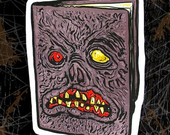 Necronomicon Large Paper Sticker - Evil Dead Book - Evil Dead Inspired Sicker - The Necronomicon