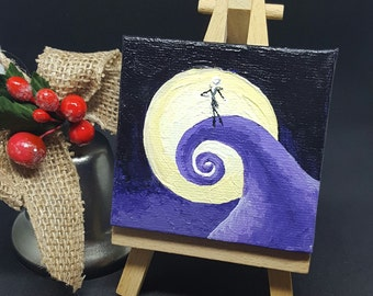 "2.75x2.75"" Nightmare Miniature Acrylic Painting and Easel"