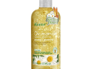 Biofinest-Kustie Chamomile Flower Petals Shower and Bath Gel - Handpicked Natural Flower Petals - Chamomile Essential Oil -