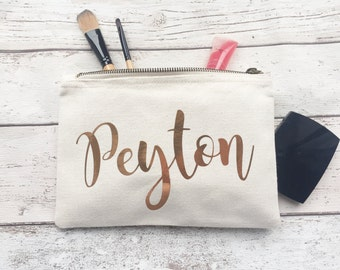 Copper Personalised make up bag | Personalised gift | Bridesmaid gift  | Personalised Birthday Present | Wash bag | Wedding gift