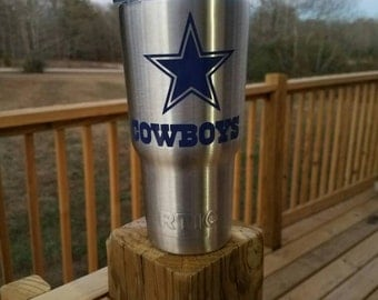 20oz Dallas Cowboys Stainless Steel Rtic or Ozark brand Tumbler