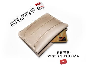 Flap wallet with secret pocket patterns + video tutorial/leather craft