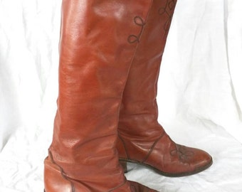 Campus boot 70's designer 8 Margaret Jerrold Arsho Spain fine leather embroidered simple tall riding brown leather