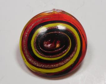Glass pendant round red-yellow-gold-black