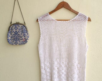 White Crocheted Vintage Top - Casual - Beach Top