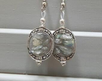 Framed Mineral Chip Earrings