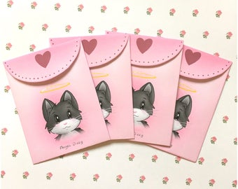 Pink envelopes / cute envelopes / kawaii envelopes / cat envelopes / small envelopes
