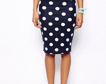 Polka Dot Casual Classic Pencil Skirt