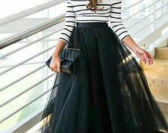 Elegant black satin and tulle skirt