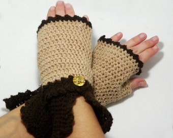 "50% OFF Crochet Gloves: ""BROWN GLOVES"" Fingerless Brown retro mittens, Hand Warmers Hand Knit Mittens, Ladies Mittens Winter accessory A176"