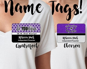 Younique Name Tag, Chevron Younique Name Tag, Quatrefoil Younique Name Tag, Younique Nametag, Nametag, Name Tag