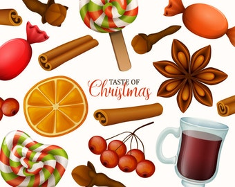Christmas clip art. Christmas food and sweets clipart collection. Vector graphic.