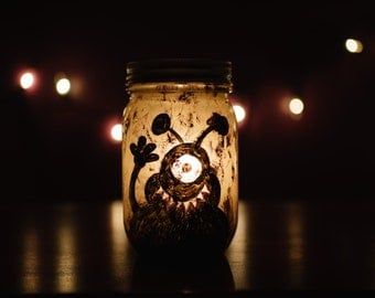 Monster Mason Jar Luminary with Votive Candle