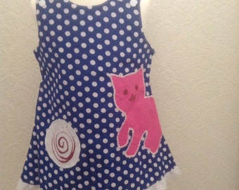 Spring/Summer Blue pinafore dress with pink cat appliqué Age 3