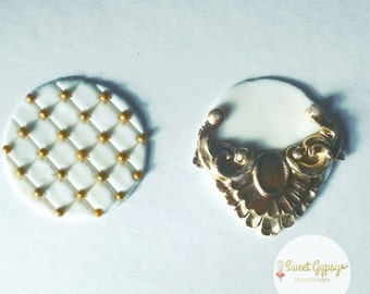 Glam Wedding Fondant Cupcake Toppers, Gold and White Wedding Fondant Cupcake Toppers, Wedding Fondant Cupcake Toppers