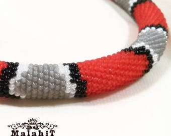 Corral Jewelry Beaded Crochet Necklace. Red Black Gray. Beaded Rope. Gift for Her, for Mom, Original. Exclusive. Handmade.