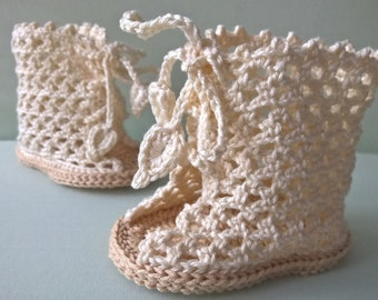 Crochet baby booties PATTERN. Baby shoes pattern. Baby sandals pattern. Summer Lace Booties. Glamour Style. INSTANT DOWNLOAD