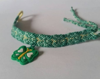 Green butterfly friendship bracelet