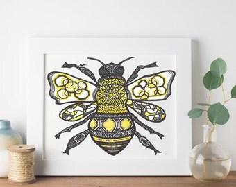 Queen Bee - Bee Zentangle Print- Bee Art Digital Download