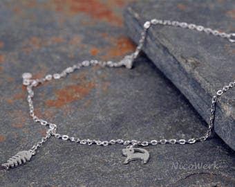 Anklet silver fish bone cat anklets 925 ladies jewelry gift SFK110
