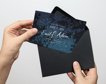 NIGHT SKY Save the date, starry night Save the date, Printable save the date, Customizable diy save the date
