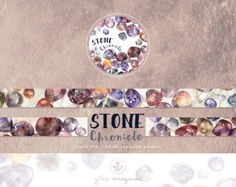 Watercolor Masking Tape, Japanese Washi Tape, Stone Chronicle, Stones, Rocks, Stationery, 10M