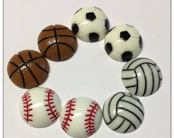 2 baseball, soccer, or volleyball flatback resin cabochon sports school team college collage embellishment card making graduation