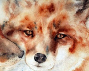 Watercolor print fox