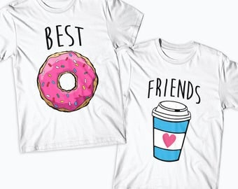 Best Friends Donut And Coffee Matching T-Shirts Duo shirt for best friend bestie shirt bff shirt BFFS Food Lover Matching Friends Gift -BF09