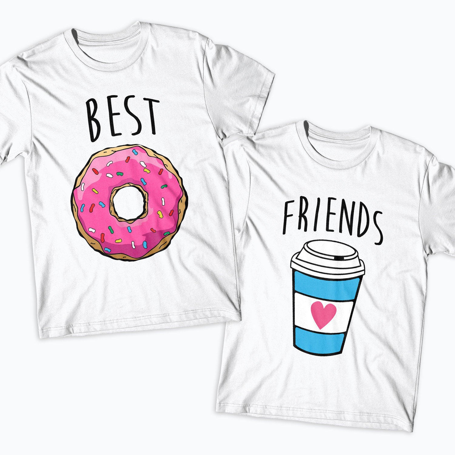 Best friends donut and coffee matching t shirts duo shirt for for Single order custom t shirts