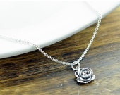 SALE 10% off Sterling Silver Rose Necklace - Rose Flower Necklace - Sterling Silver Rose Charm - Flower Jewelry - Dainty Silver Necklace