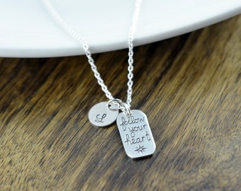 Personalized Silver Follow Your Heart Necklace -  Follow Your Heart Necklace, Follow Your Heart Charm, Inspirational Romantic Jewelry