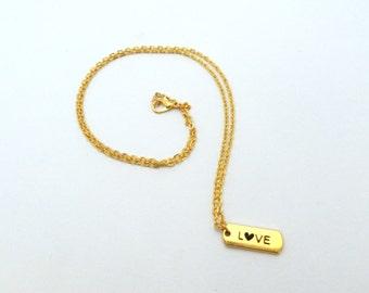 Necklace, golden, love, heart, pendant, plate, valentine