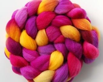 Hand dyed POLWARTH roving, spinning felting fibre, 100g/3.5oz
