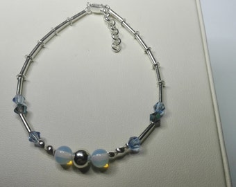 Silver bracelet, Opal bracelet, beaded bracelet, handmade bracelet