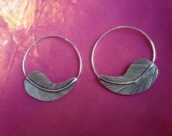 Feather spiral silver earrings