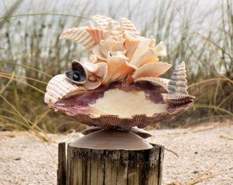 Shell Art, Beach Theme, Candle holder, Jewelry holder