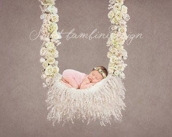 Newborn Photography Digital Prop/Backdrop White Rose Swing Set - 5 Variations