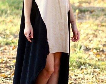 Asymmetric Maxi Dress /Beige and Black Asymmetrical Kaftan/Extravagant Long short Dress /Party Dress /Daywear Dress