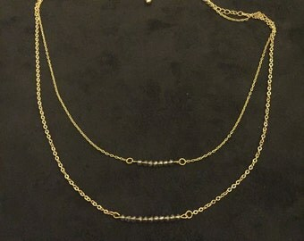 Two strand Crystal Bar Necklace