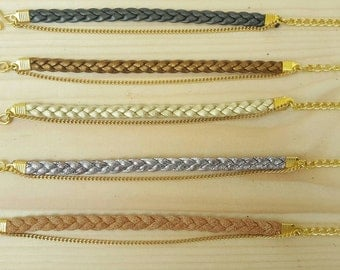 Leather Bracelet braided chain