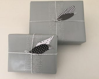 Giftwrap Set / Gift Wrapping / Full Paper Sets / Silver Wrapping Paper / Silver Ribbon / Twine